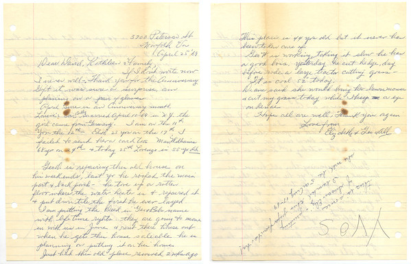 April 25, 1969  Letter from Elizabeth (Keating) Williams to her brother, David R. Keating. (Courtesy of David R. Keating, Jr.)