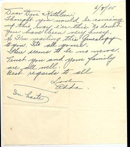June 8, 1955  Note from Adda to David R. Keating regarding family genealogy. (Courtesy of David R. Keating, Jr.)