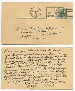 May 16, 1943 Philadelphia, PA  Postcard from Francis E. Keating to his son, David R. Keating. (Courtesy of David R. Keating, Jr.)