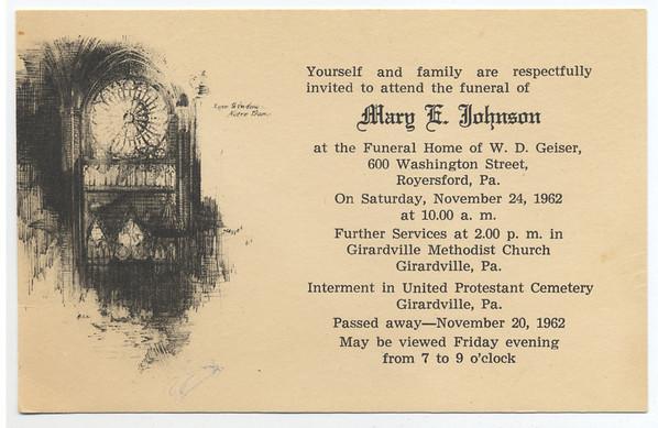 November 24, 1962  Funeral card for Mary E. Johnson. (Courtesy of David R. Keating, Jr.)