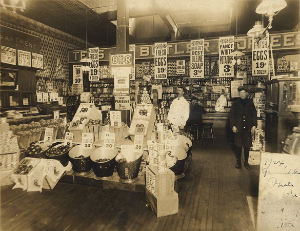 October, 1913 1724 Fairmount Avenue, Philadelphia, PA  Francis E. Keating (center in the white coat) in the grocery store he managed. (Courtesy of David R. Keating, Jr.)