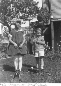 "About 1929 Doris Mae (Johnson) Gotsch and her cousin, Leon ""Sonny"" Cloud, Jr. They are the children of Susan (Lukens) Keating's sisters - Anna Marie (Lukens Johnson) Ewing and Emily (Lukens) Cloud, and cousins to the Belmar Keatings. (Courtesy of Gotsch / Bruton)"