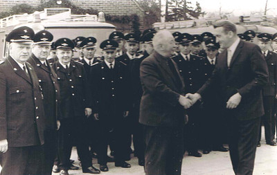 Undated, about 1970 Neu St. Jurgen, Germany Johann Kuck, Sr. is honored by the Neu St. Jurgen fire company.