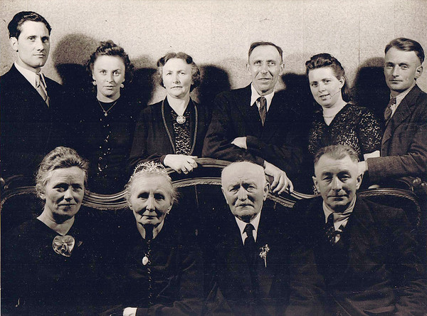"April 14, 1948 Neu St. Jurgen, Germany The Golden wedding anniversary of Meta (Gerkin) and Johann Kuck. FRONT ROW - Meta (Monsees) Kuck, Meta (Gerkin) Kuck, Johann Kuck, Johann Kuck. BACK ROW - Theo Waller and Gesine ""Sina"" (Kuck) Waller, Anna (Kuck) Kuck and Heinrich Kuck, Gesine (Kuck) Kuck and Johann Kuck, Jr."