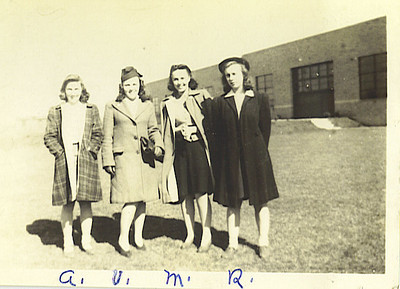 """1943 Norristown, PA, Markley Street near Johnson Highway  Four daughters of Lucy (Keating) Crosley. Alice D. (Crosely) Peters (b.1928 - d.1975), Veronica """"Ronnie"""" C. (Crosley) McCarrick (b.1925 - d.1984), Mary Leah (Crosely) Welsh (b.1923 - d.1928) and Rita Evelyn Crosely (b.1926 - d.2006). These are grandaughters of Leah K. (Brightenstine) and Thomas J. Keating."""