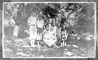 Undated, about 1932 Lucy (Keating) Crosley and her children. BACK ROW, LEFT TO RIGHT - Thomas Joseph Crosely, William W. Crosely, Mary Leah (Crosely) Welsh, Veronica C. (Crosely) McCarrick, Alice D. (Crosely) Peters and Rita E. Crosely. FRONT ROW; Lucy (Keating) Crosley holding Joseph M. Crosely.