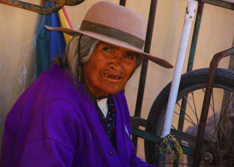 A distinct looking lady selling trinkets - Norte Argentino.