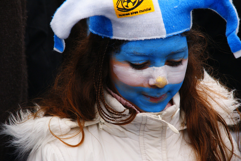 A girl joining her family to cheer on the national team - Buenos Aires, Argentina.