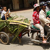 A motorbike with a trailer in the back is filled by three passengers up front and one small boy riding on the back who is holding sugar cane juice in his hands - Battambang, Cambodia.