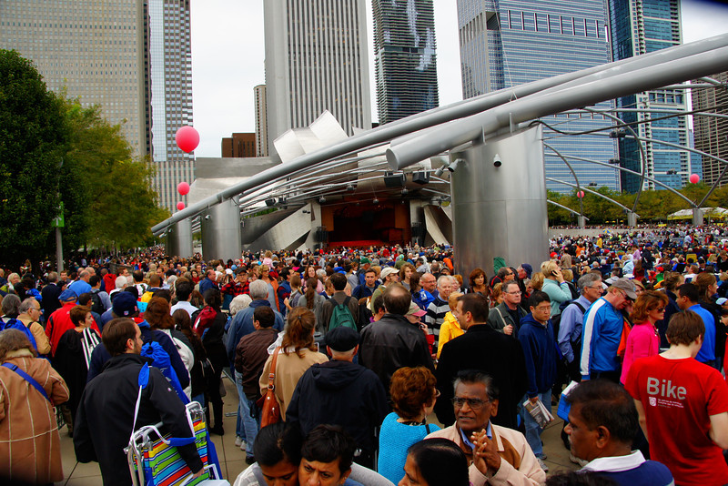 An enormous crowd gathers for a free concert at Millennium Park.