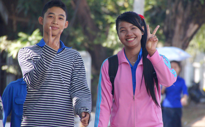 A lovely couple posing for the camera - Vientiane.