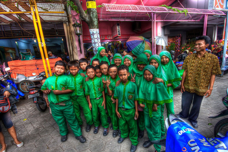 Friendly school kids in Indonesia.