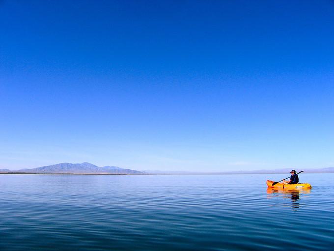 Kayaking with beautiful scenery.