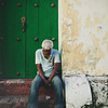 Old man sleeping on the streets of Cartagena, Colombia