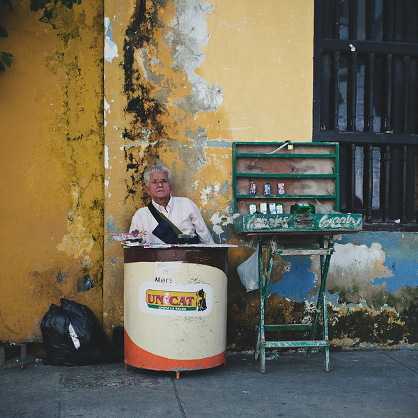 Salesman working on the streets of Cartagena, Colombia