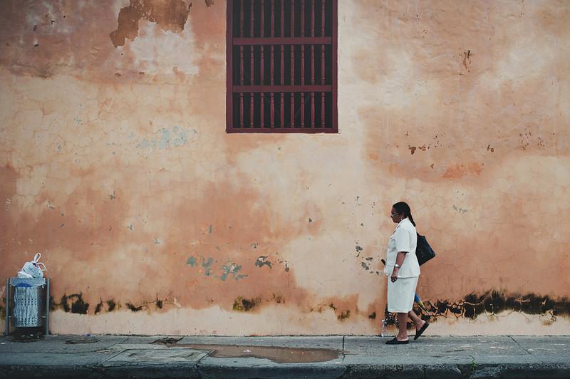 Woman walking in Cartagena, Colombia