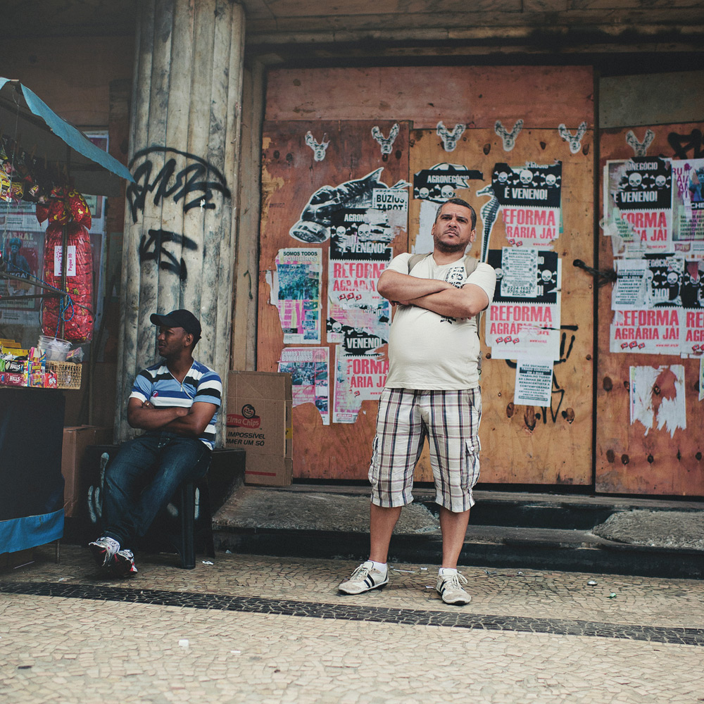 Salesman standing firm on the streets of Rio de Janeiro, Brasil