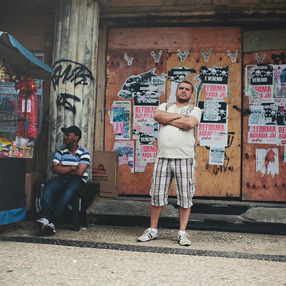Salesman standing firm on the streets of Rio de Janeiro, Brasil