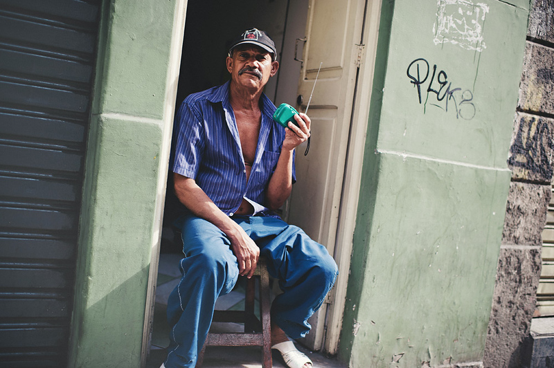 A guy listening to the radio in Rio de Janeiro, Brasil