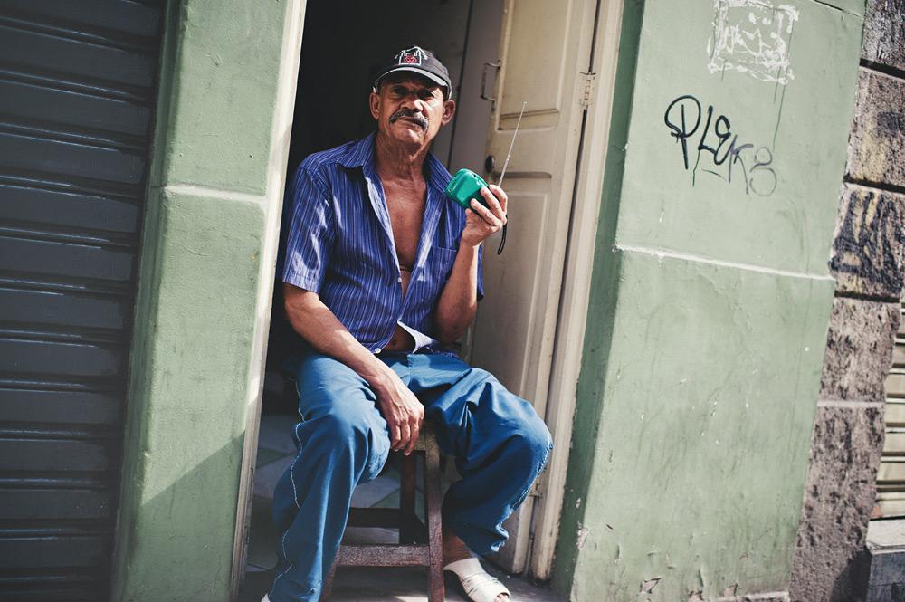 A guy listening to the radio in Rio de Janeiro, Brasil