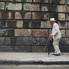 Old man walking in Bogota, Colombia