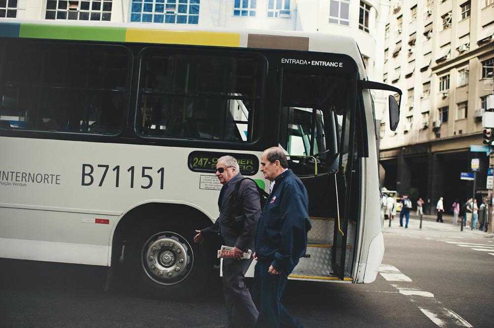 The bus driver takes a break in Rio de Janeiro, Brasil