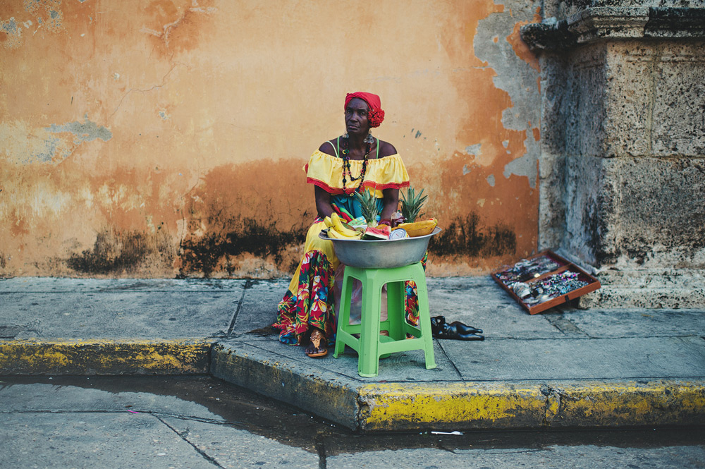 Selling fruits on the streets of Cartagena, Colombia