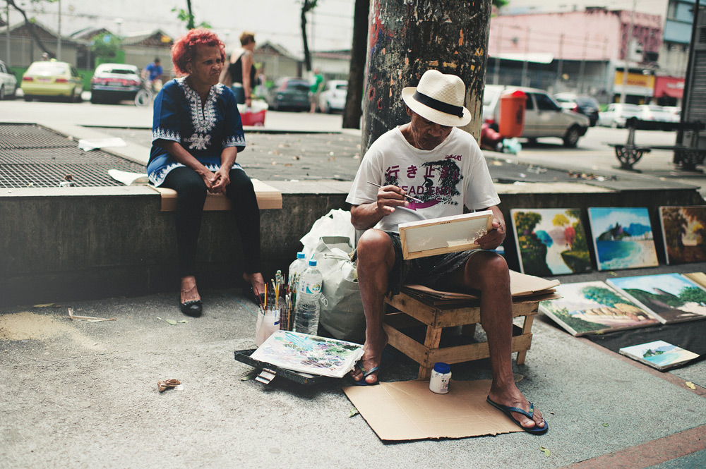 Artists working on the streets of Rio de Janeiro, Brasil