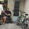 Two men working out administrative details on the streets of Rio de Janeiro, Brasil