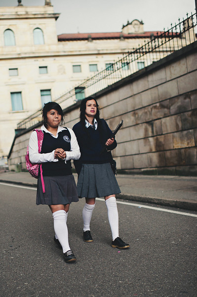 A travel photo of some Schoolgirls in their uniforms in Bogota, Colombia