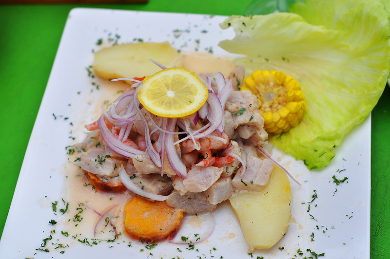ceviche, a selection of raw fish marinated in citrus juices (typically lemon and lime) and flavoured with chilli peppers and seasonings.