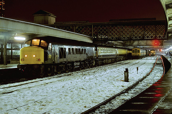 On a very chilly night 45149 stands at Sheffield station 01/82
