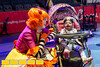 Yohanna Fluitt, 2 of Chamblee, is all smiles with Julia Bothun, a clown at the Ringling Brothers Circus.  Gas South invites hundreds of special needs families to an exclusive pre-show event at the Ringling Brothers Circus at the Infinate Energy Center on Friday, Feb 19, 2016.  (Jenni Girtman/ Atlanta Event Photography)