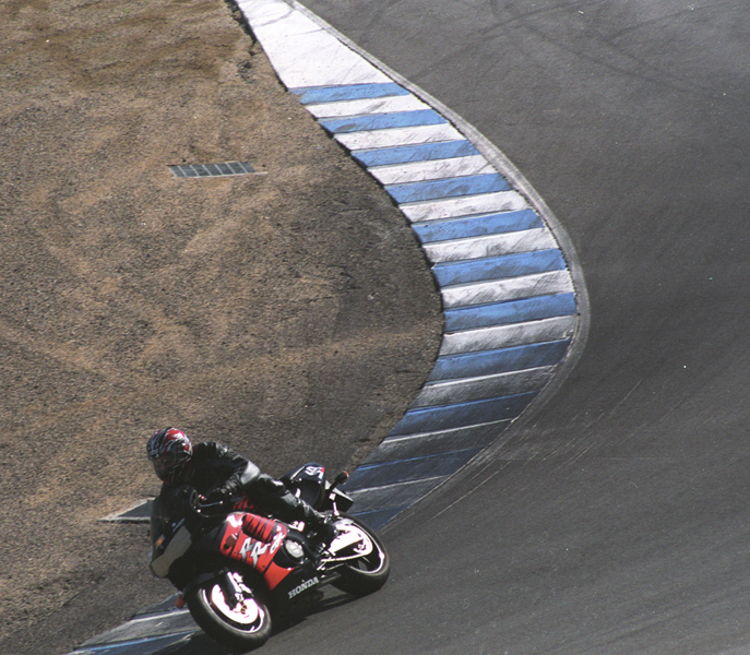 "Matt Chapman going through Laguna Seca \""cork screw\"" turn."