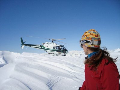 """Our """"lift' to the top of the Hogback Glacier"""
