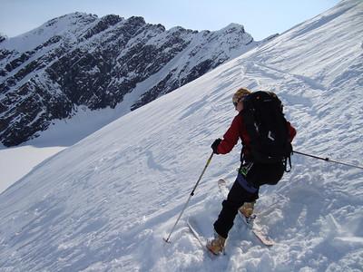 Dropping into a couloir onto the Heiden Glacier
