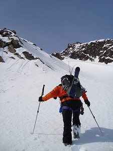 Boot packing up a couloir