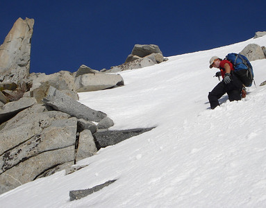 Steep snow climbing