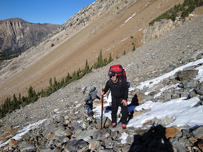 Hiking up talus on the way to camp.