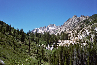 Hiking up Horse Creek canyon on the way to base cam. Matterhorn Peak is in the back ground.