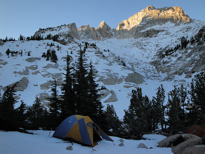 Our camp with a dusting of fresh snow