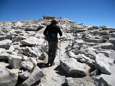 The final steps to the highest point in the continental United States