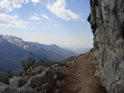 The beginning of the High Sierra Trail with Castle Spires in the background