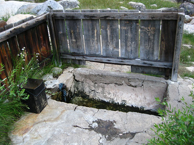 The Kern Hot Spring. It's a concrete tub that you fill with hot spring water for a relaxing mid-trek soak.
