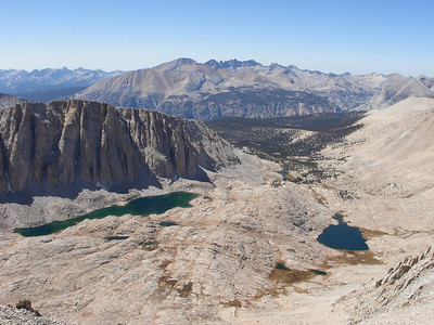 A view back towards Guitar Lake and the Kern Canyon from high on the Mount Whitney Trail