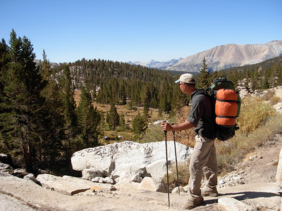 Hiking near Cottonwood pass in the Golden Trout Wilderness near the end of our trans-sierra Odyssey.