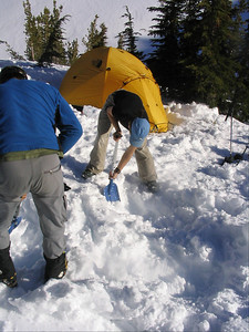 Digging out a winter camp