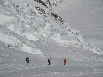 Skiing past an ice fall