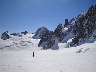 Skiing the Geant Glacier, home of many moderate ski tours
