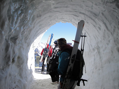 Walking out the ice tunnel from the cable car station.